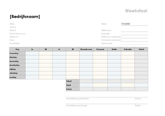Weekstaat (A4 liggend: 297 x 210 mm)