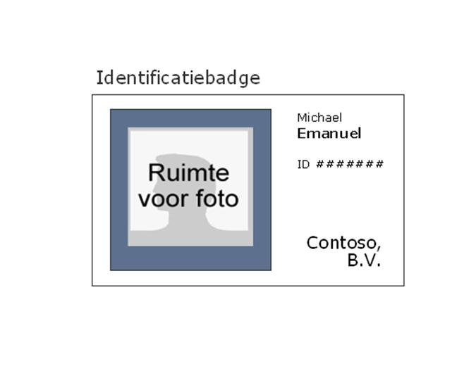Badge met werknemer-id (liggend)