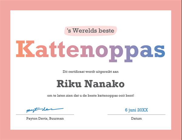Certificaat voor 's werelds beste