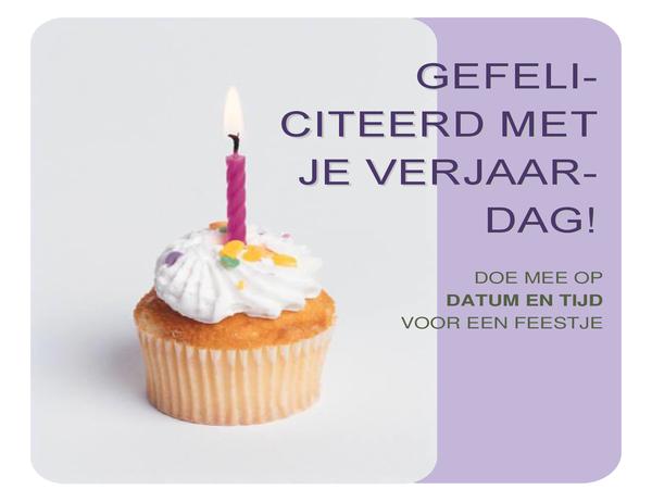 Flyer met uitnodiging voor verjaardag (met cupcake)