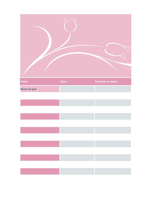 Gastenlijst bruiloft (ontwerp met tulpen)