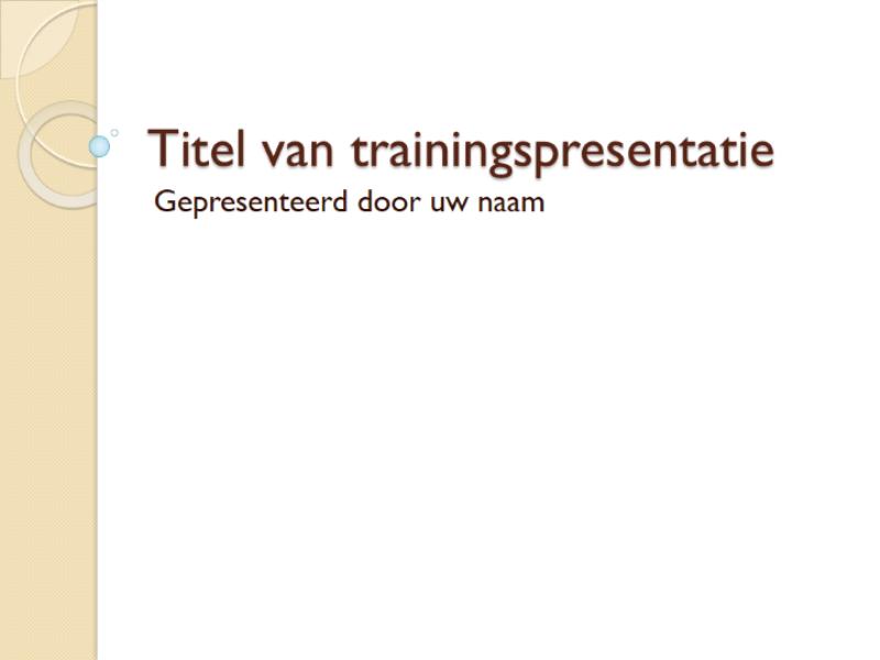 Trainingspresentatie: algemeen