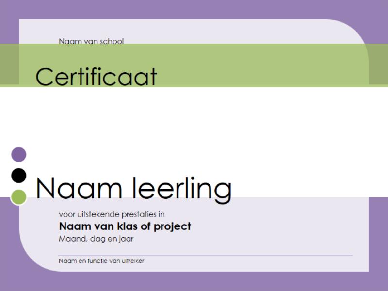 Certificaat voor leerling