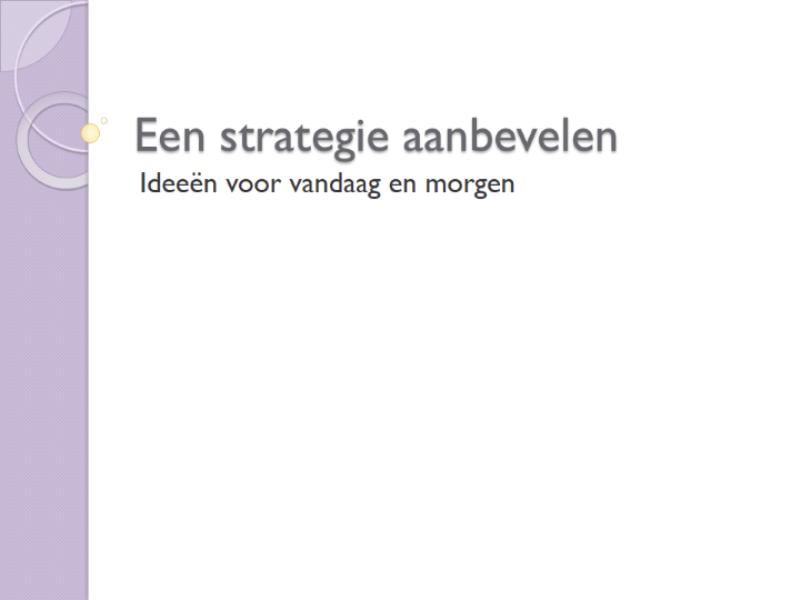 Een strategie aanbevelen (presentatie)