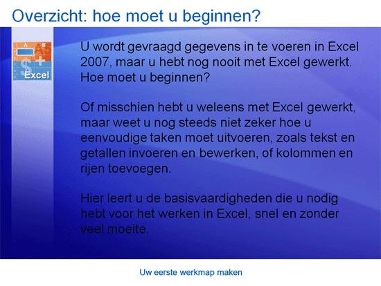 Trainingspresentatie: uw eerste werkmap maken met Excel 2007