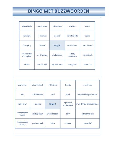 Kaart voor buzzwoord-bingo