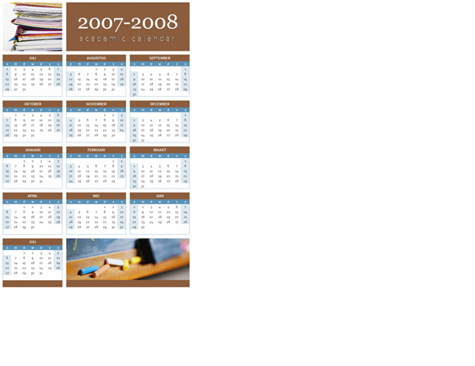 Kalender voor academisch jaar 2007-2008 (1 pagina)