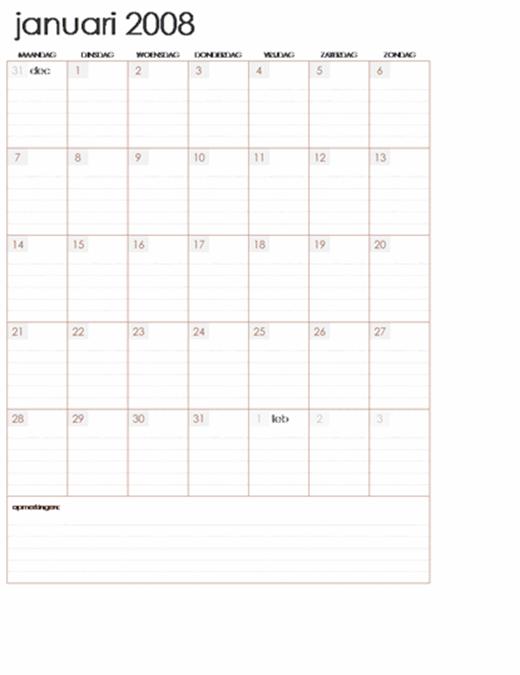 Kalender 2008 op meerdere werkbladen (12 pagina's, ma-zo)