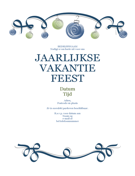 Uitnodiging voor feest met blauwe en groene versieringen (formeel ontwerp)