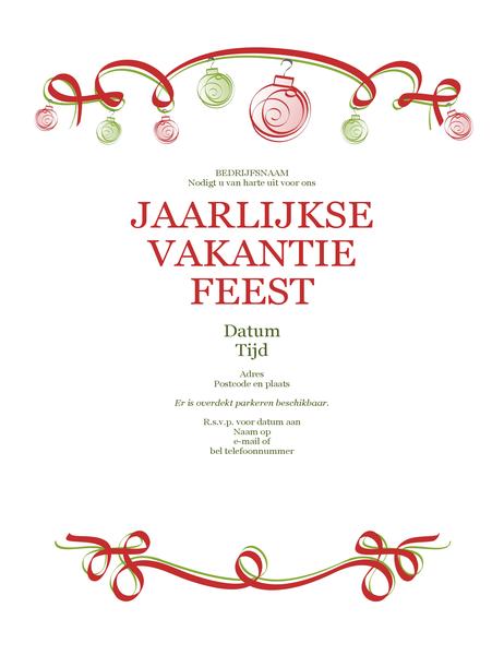 Uitnodiging voor een feest met kerstballen en rood lint (formeel ontwerp)