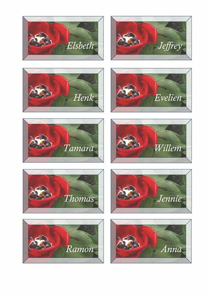 Tafelkaartjes (ontwerp met bloemen)
