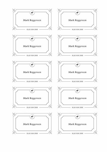 Naamkaartjes afstuderen (formeel ontwerp, zwart-wit)
