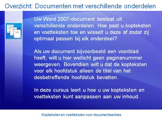 Trainingspresentatie: Word 2007—Kopteksten en voetteksten voor documentsecties