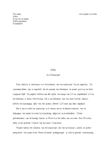 Manuscript van verhaal