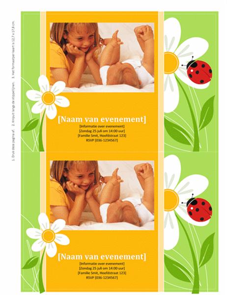 Uitnodigingen met ruimte voor foto (ontwerp met lieveheersbeestje)