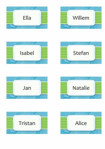 Naam- of plaatskaarten (ontwerp met wolken, 8 pagina's)