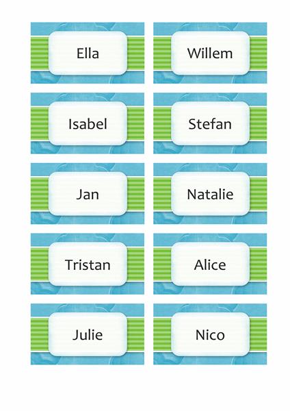 Naam- of plaatskaarten (ontwerp met wolken, 10 pagina's)