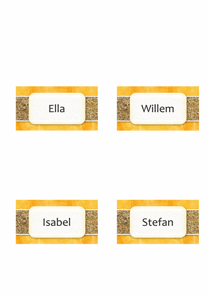 Naam- of plaatskaarten (ontwerp met zon en zand, vouwstijl)