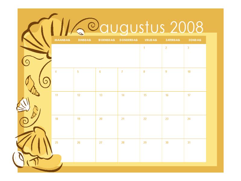 Kalender voor het academisch jaar 2008-2009 (maandelijkse thema's, 13 pagina's, ma-zo, aug-aug)