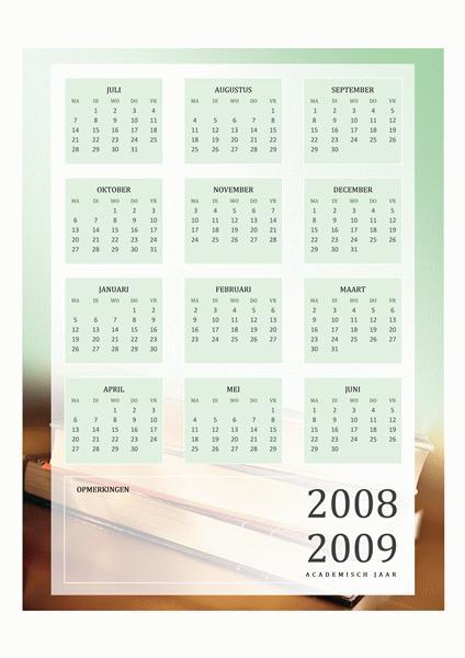 Kalender voor het academisch jaar 2008-2009 (1 pagina, ma-vr)