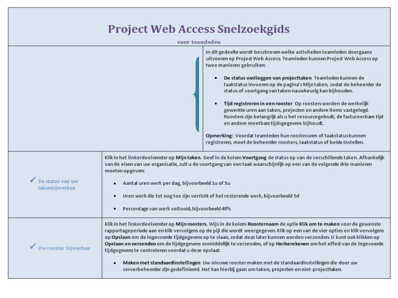 Snelzoekgids bij Project Web Access voor teamleden