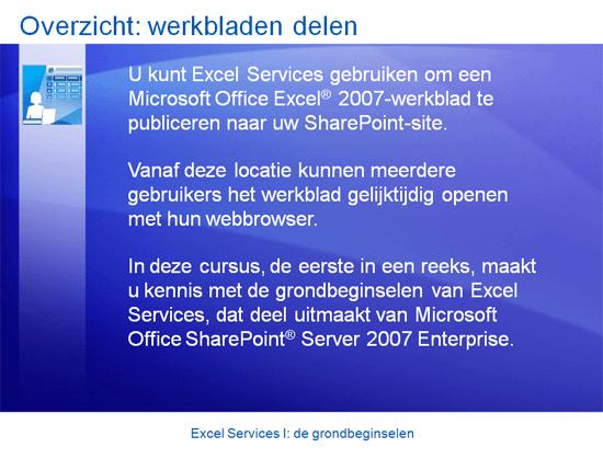 Cursuspresentatie: SharePoint Server 2007—Excel Services I: de grondbeginselen