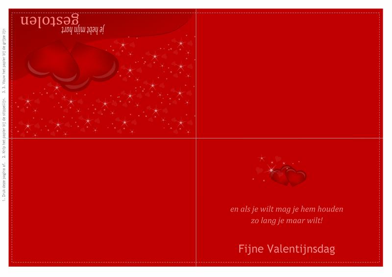 Valentijnskaart (in vieren gevouwen)