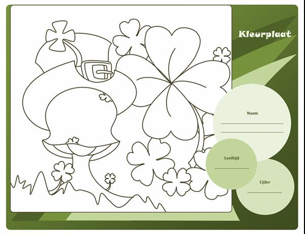 St. Patrick's Day-kleurplaat (ontwerp Klaver)