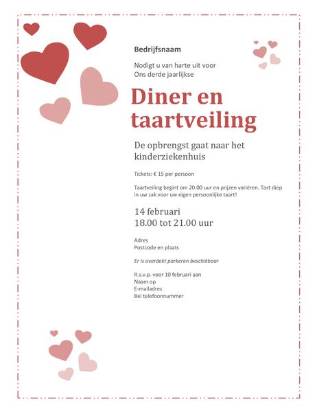 Uitnodiging voor diner en taartveiling op Valentijnsdag