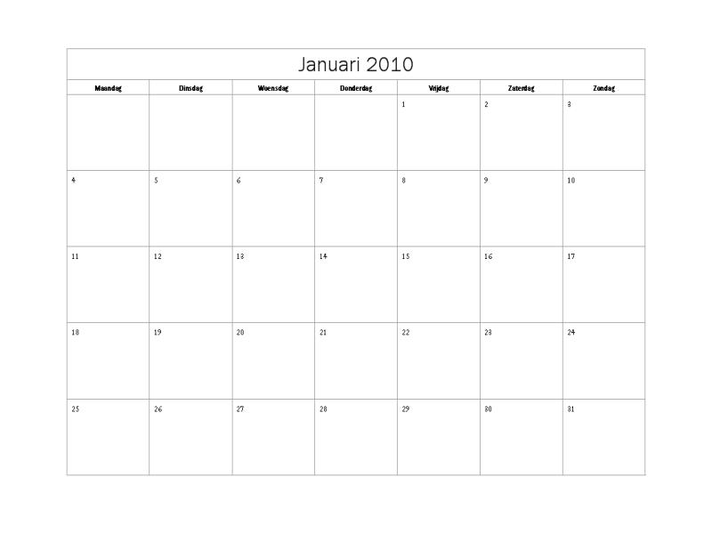 Kalender 2010 (standaardontwerp, ma-zo)