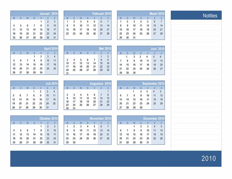 Jaarkalender voor 2010 met ruimte voor notities (1 pagina, ma-zo)