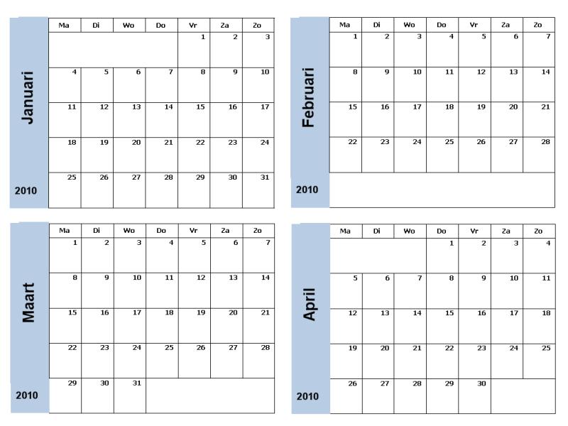 Jaarkalender voor 2010 met blauwe rand (3 pagina's, ma-zo)
