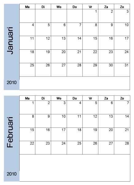 Jaarkalender voor 2010 met blauwe rand (6 pagina's, ma-zo)