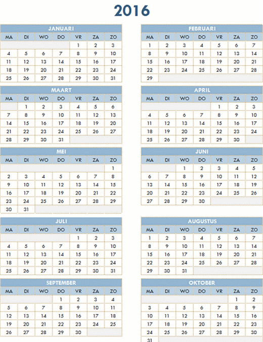 Jaarkalender 2016-2025