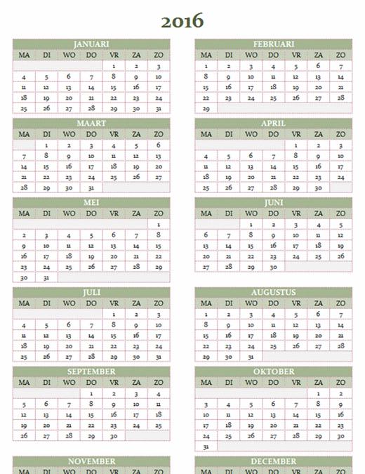 Jaarkalender 2016-2025 (ma-zo)