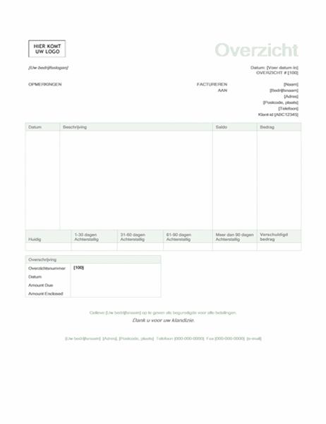 Factuuroverzicht (groen ontwerp)