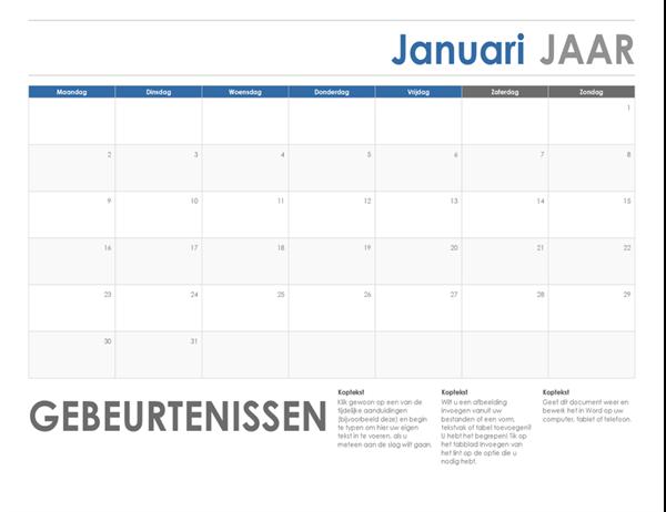 Horizontale kalender (begint zondag)