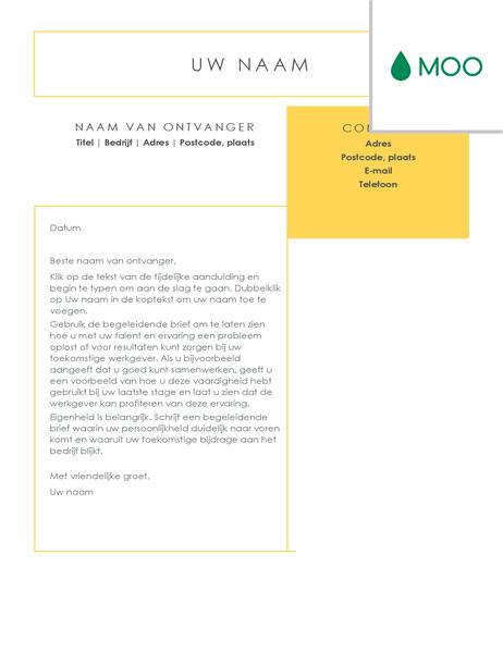 Strakke en zakelijke sollicitatiebrief, ontworpen door MOO