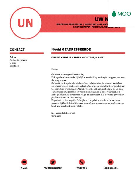 Verzorgde sollicitatiebrief, ontworpen door MOO