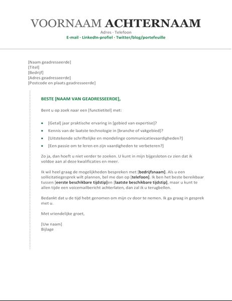 Begeleidende brief bij cv (chronologisch)