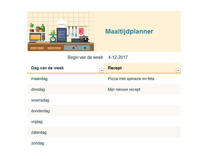 Weekplanner voor maaltijden