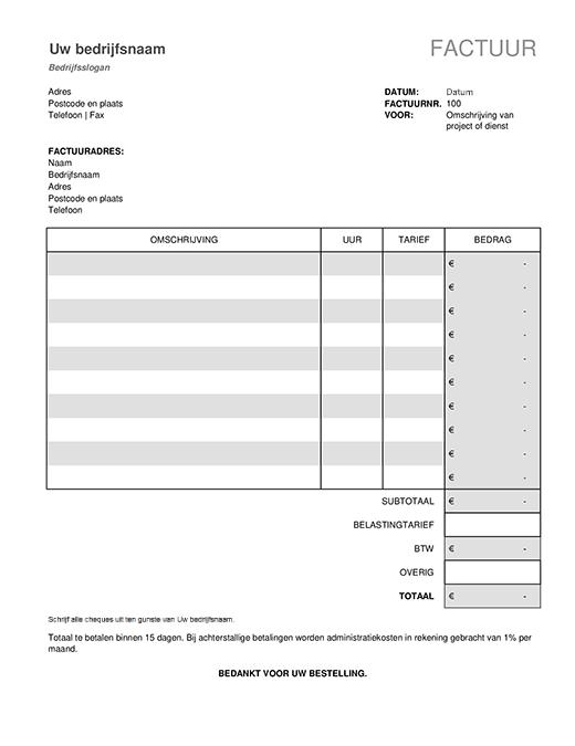 Servicefactuur met belastingberekeningen
