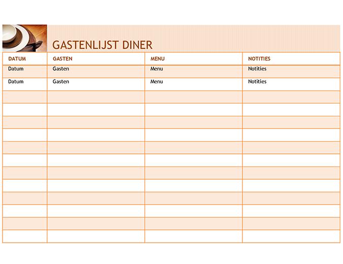 Gastenlijst diner met menu