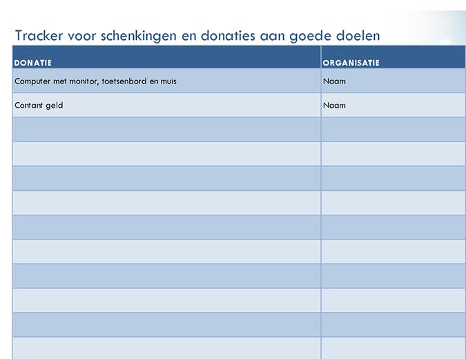 Tracker voor schenkingen en donaties aan goede doelen (eenvoudig)