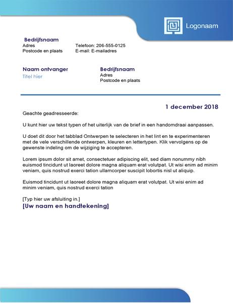 Zakelijke brief (blauwe rand en kleurovergang)