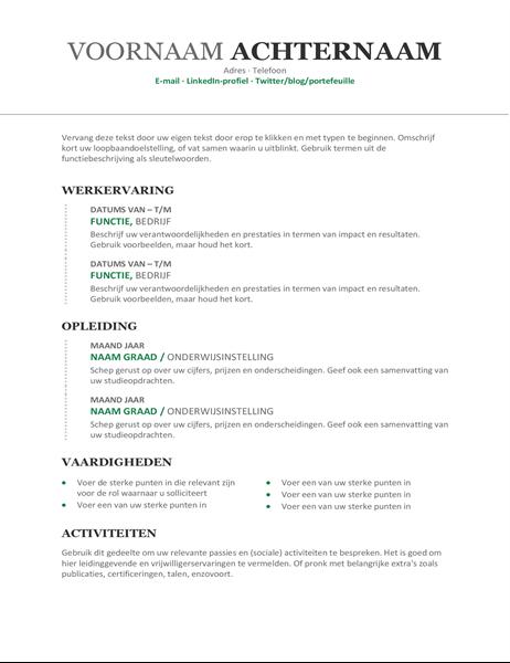 Chronologisch cv (modern ontwerp)