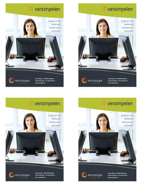 Folder technologiebedrijf (kwartpagina, 4 per pagina)