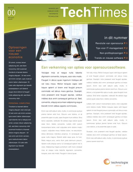 Nieuwsbrief voor technologiebedrijf (4 pagina's)