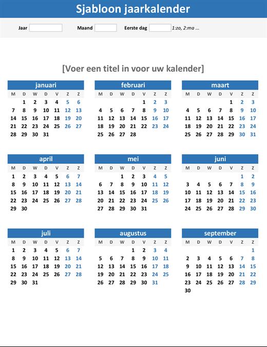 Overzichtelijke jaarkalender (staand)