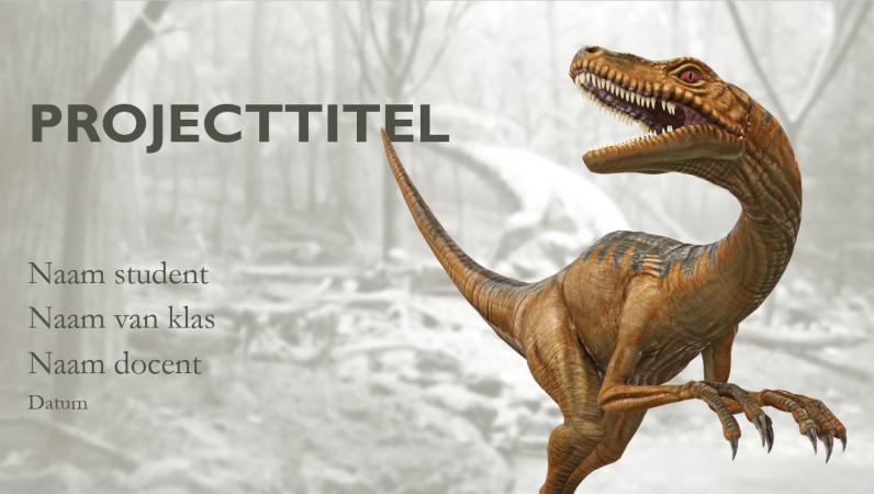 Schoolrapportpresentatie met dinosaurusmodellen